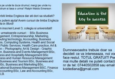 Inscrieri Cursuri limba Engleza, Level 3, Colegii, Universitati